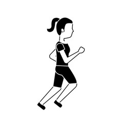 young girl running sport activity vector image
