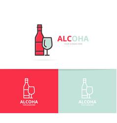 bottles of wine logo design template vector image vector image
