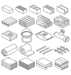 Building and construction materials linear vector image