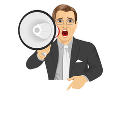 businessman shouting with megaphone vector image
