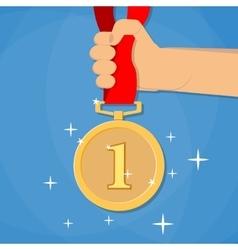 Hand holding golden medal vector image