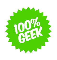 100 percent geek sticker vector