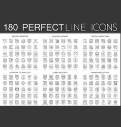 180 outline mini concept icons symbols of seo vector image
