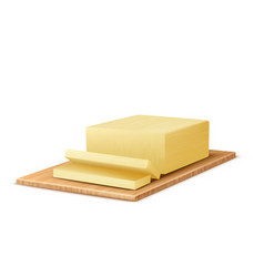 3d realistic butter on wooden tray vector image