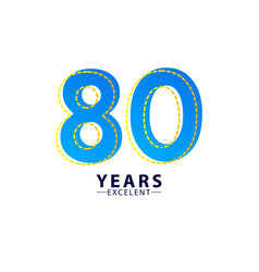 80 years excellent anniversary celebration blue vector