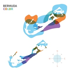 Abstract color map of Bermuda vector image