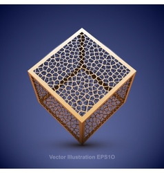 Abstract wireframe cube vector image