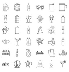alcoholic drink icons set outline style vector image