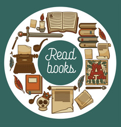 Ancient library shop or store read books vector