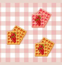 Breakfast waffles on vintage pattern vector