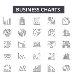 business charts line icons for web and mobile vector image