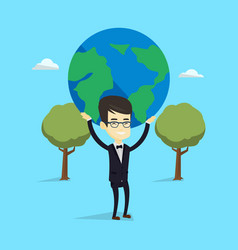 Business man holding globe vector