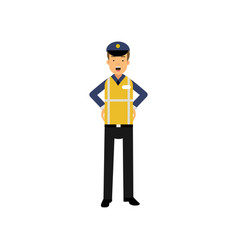 cartoon officer of traffic police standing with vector image