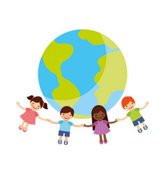 Children holding hands around the world vector