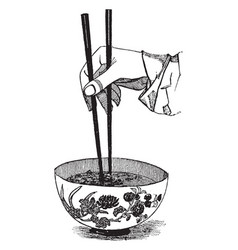 Chopsticks used by the chinese vintage engraving vector