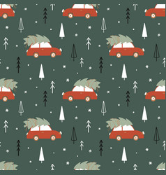 Christmas time seamless pattern with car vector