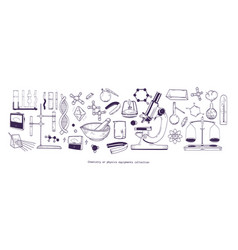 collection of chemical and physical laboratory vector image