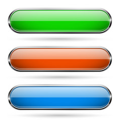 colored glass 3d buttons with chrome frame oval vector image