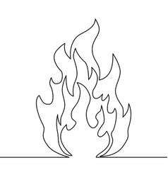 continuous line fire one line drawing fire vector image