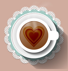 Cup of coffee on a paper napkin vector