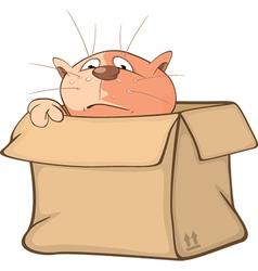 Cute Cat and Box Cartoon vector