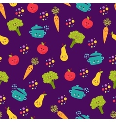 Cute food characters seamless pattern vector