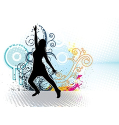 Dancing girl with floral ornaments vector