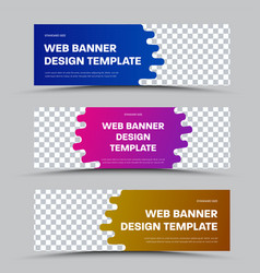 design horizontal web banners with framed vector image