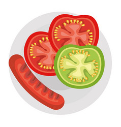 Dish with delicious sausages and tomato vector