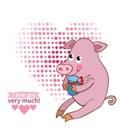 drawn by animal pig declaration of love vector image