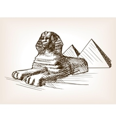 Egypt sphinx pyramid sketch vector