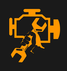 engine check symbol vector image