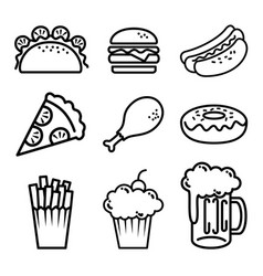 Fast food set icons vector