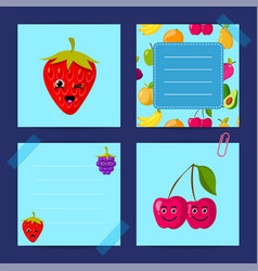 flat cute raspberry cherry blackberry vector image