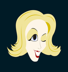 Flat icons on theme funny clown woman vector