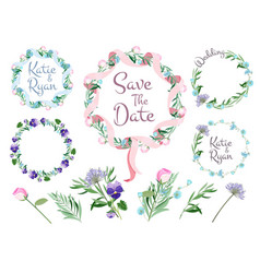 floral branches frames flowering wreath ribbons vector image
