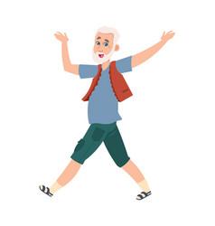 Funny happy senior man cartoon dancing pensioner vector