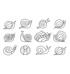 funny snail logo for your design vector image