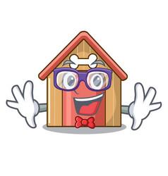 geek cartoon dog house and bone isolated vector image