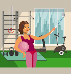girl taking selfie in fitness center flat drawing vector image