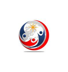 global leadership logo design template vector image
