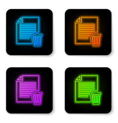 glowing neon delete file document icon isolated vector image