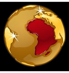 Golden globe with marked africa countries vector