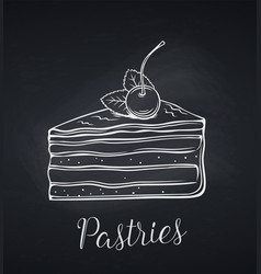 hand drawn cake icon vector image