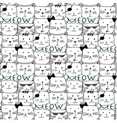 Hand drawn cats pattern vector