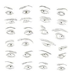 Hand drawn Eyes set vector image
