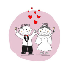 happy just married couple toasting vector image