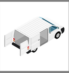 Hi-detailed cargo delivery van isometric view vector