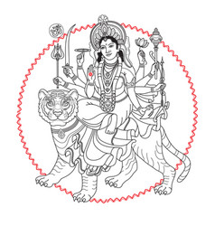 Hindy goddess durga sitting on the tiger vector