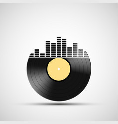 icon vinyl record with a sound equalizer vector image